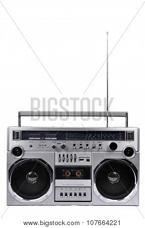 1980S Silver Ghetto Radio Boom Box With Antenna Up Isolated On White. Front
