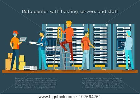 Data center with hosting servers and staff
