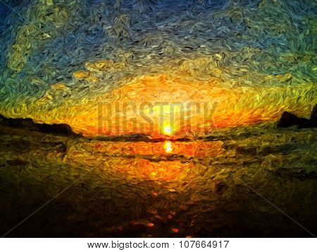 sea sunrise van gogh