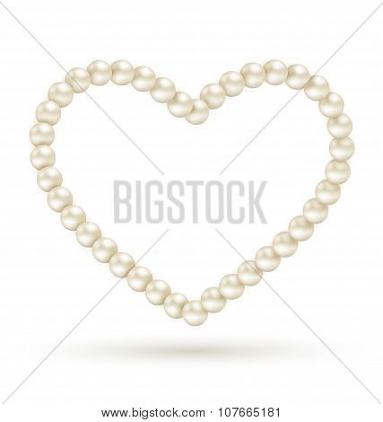 Pearl Heart Like Frame Isolated On White