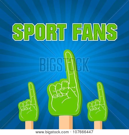 Color Sport Fans Foam Fingers On The Retro Background