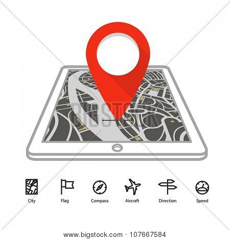 Modern gadget with abstract city map in perspective and transportation icons