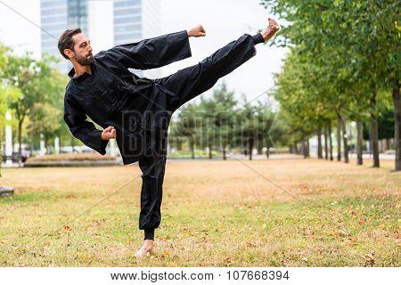 Martial artist practicing Qigong in office break