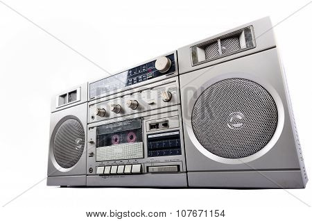 1980s Silver radio boom box isolated on white background poster