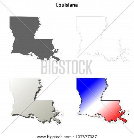 Louisiana outline map set