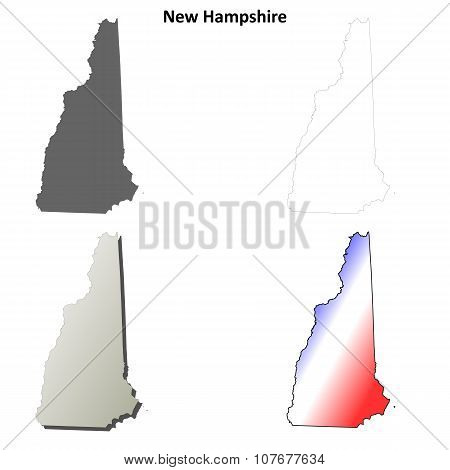 New Hampshire outline map set