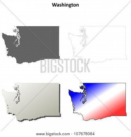 Washington outline map set