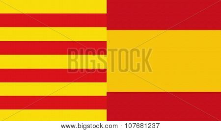 Catalonia And Spain Flag