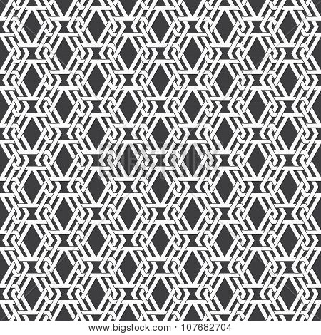 Seamless pattern of intersecting sophisticated geometric shapes
