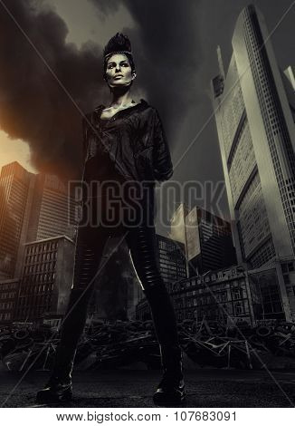 Woman Standing Against Skyscrapers And City Ruins