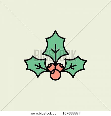 Christmas holly icon. Vector icon. Linear style