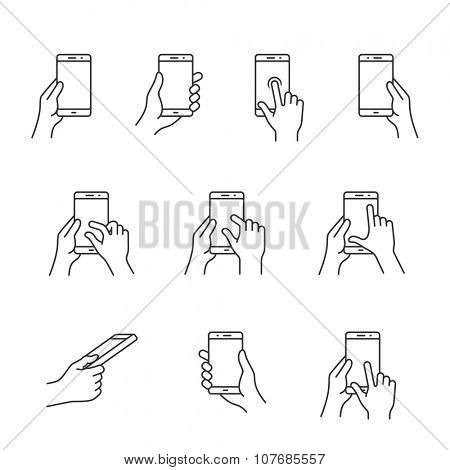 Gesture icons for smart phones. Simple outlined vector icon set for a mobile app user interface or manual. Linear style