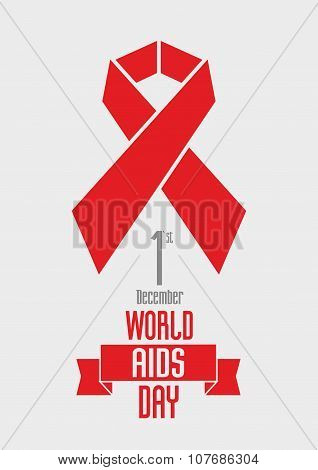 World Aids Day 1St December Vector Design Concept With Text And Red Ribbon