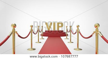 Gold Vip Text On Red Carpet Vip Way Gold Fence On White Gray Background