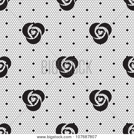 Dot rose lace seamless pattern net. Black cell textile openwork knit. Beads on hosiery knit. Polka dot in a row on reticulate textile. poster