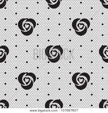 Dot rose lace seamless pattern net.