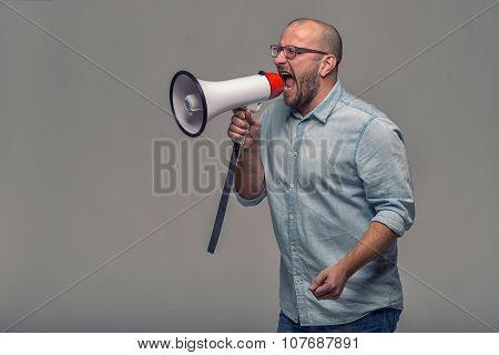 Man Speaking Over A Megaphone