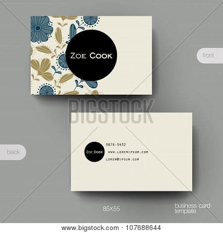 Business card vector template with floral background