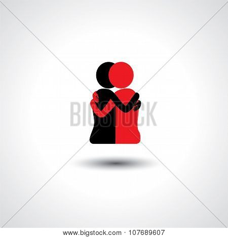 Friends Hug Each Other, Deep Relationship & Bonding - Vector Icon