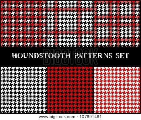 Houndstooth checkered seamless patterns set in red black and white, vector
