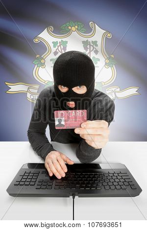 Hacker With Usa States Flag On Background And Id Card In Hand - Connecticut