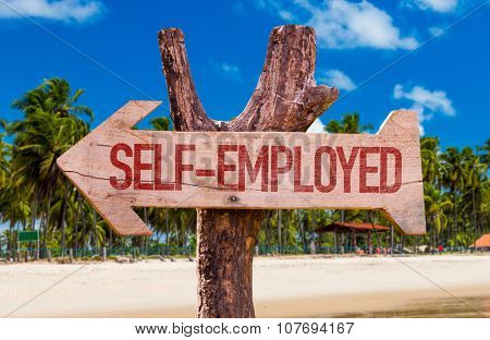 Self-Employed arrow with beach background