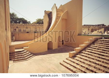 Weird Architecture Of The Observatory Jantar Mantar, Unesco World Heritage Site In Rajasthan, India