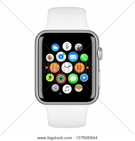 Apple Watch Sport 42Mm Silver Aluminum Case With White Sport Band Front View