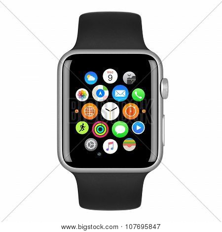 Apple Watch Sport 42Mm Silver Aluminum Case With Black Sport Band Front View