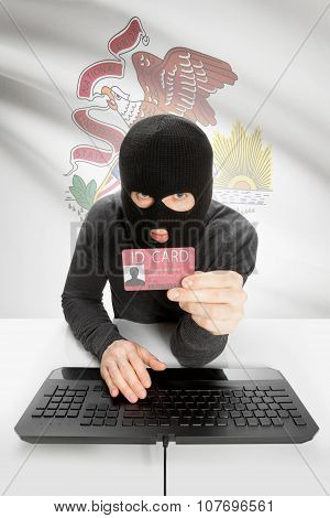 Hacker With Usa States Flag On Background And Id Card In Hand - Illinois