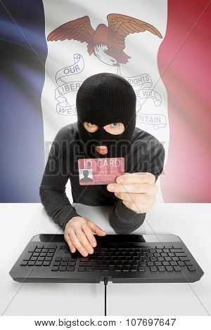 Hacker With Usa States Flag On Background And Id Card In Hand - Iowa