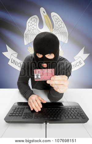 Hacker With Usa States Flag On Background And Id Card In Hand - Louisiana