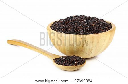 Riceberry In Wooden Bowl