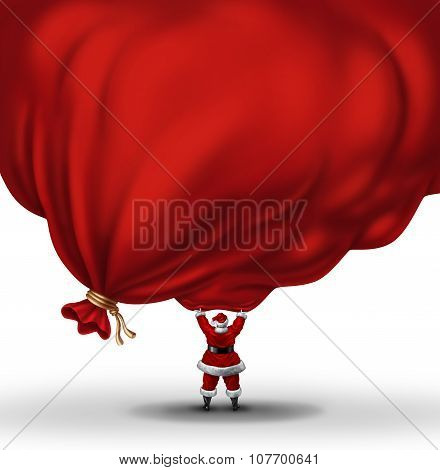 Santa Clause lifting a huge bag full of gifts and presents with a blank area for copy or text as a festive christmas symbol and winter holiday metaphor for the season of giving. poster