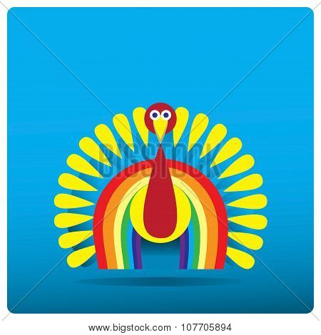 Multi-colored turkey-cock in the form of a rainbow for Thanksgiving Day.