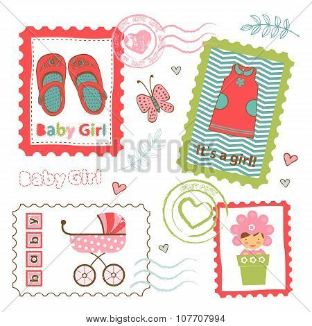 Colorful collection of baby girl announcement postal stamps. vector illustration poster