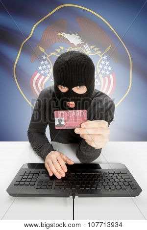 Hacker With Usa States Flag On Background And Id Card In Hand - Utah