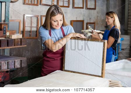 Mid adult female worker looking at dried paper on mold in factory poster