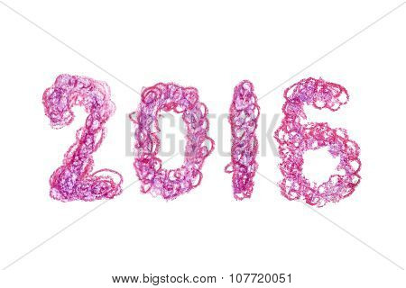 Violet crayon hand drawn 2016 new year lettering