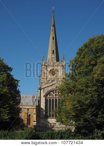 Holy Trinity church seen from River Avon in Stratford upon Avon UK poster