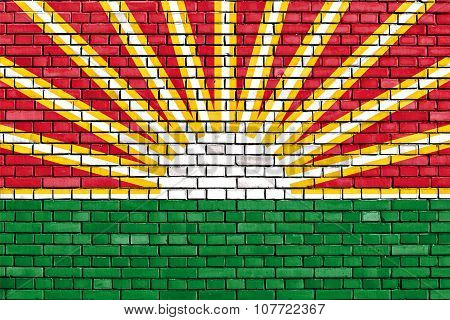 Flag Of Lara State Painted On Brick Wall