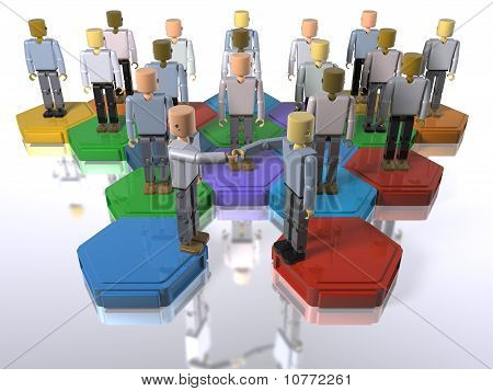 A model of a team with 3D figures