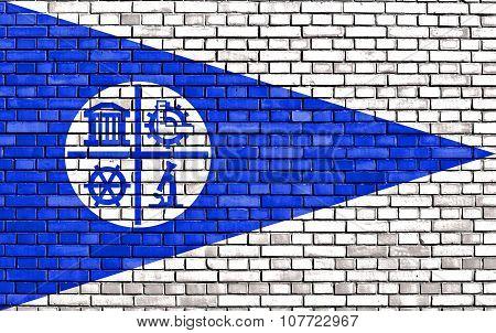 Flag Of Minneapolis Painted On Brick Wall