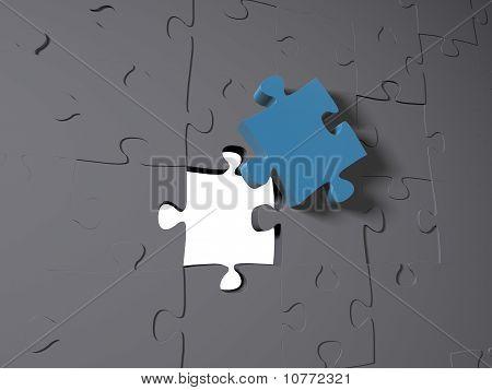 A blue puzzle piece on grey pieces