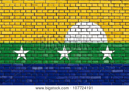 Flag Of Nueva Esparta State Painted On Brick Wall