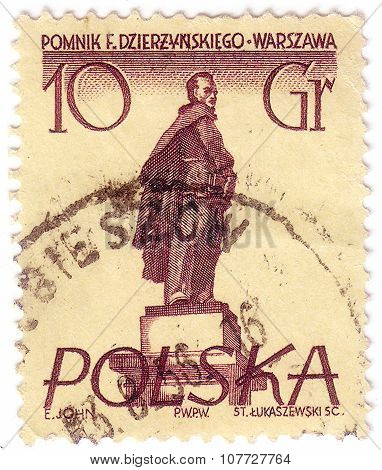 Poland - Circa 1955: Postage Stamp Printed In Poland, Shows A Monument To Soviet Statesman, Polish A