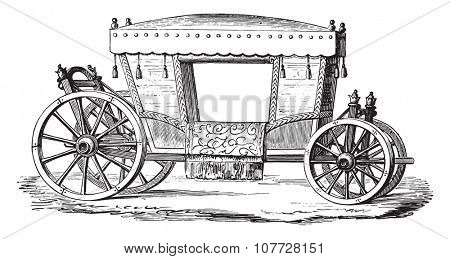 Carriage of Henri IV, vintage engraved illustration. Industrial encyclopedia E.-O. Lami - 1875.