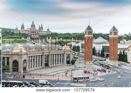 Plaza d'Espanya or Spain square. Barcelona, Spain.