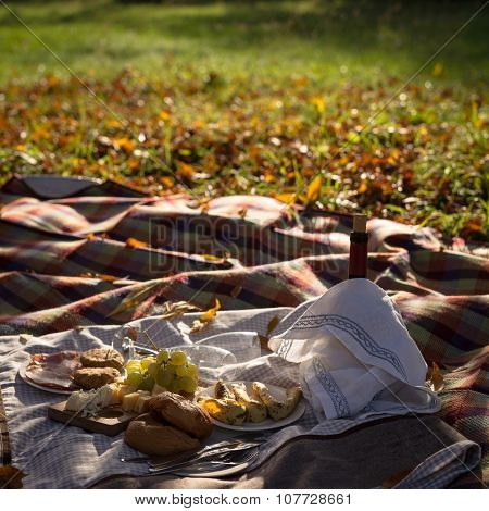 Picnic Set Of Various Food And Red Wine