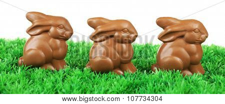 Chocolate Easter bunnies on green grass, on white background